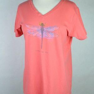 Life is Good Live & Let Fly Dragonfly V-Neck Large